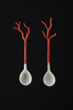Ottoman Empire (Turkey), Sherbert Spoons, coral/silver/shell, c. 19th c.