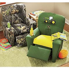 Recliners, Kid-Sized from Through the Country Door® I want the camo one so bad! Baby Boy Rooms, Baby Room, Kids Rooms, John Deere Room, John Deere Baby, Bristol, Camo Baby Stuff, Everything Baby, Kids Furniture
