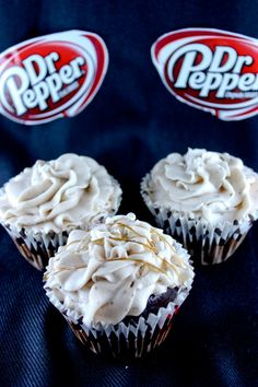 Pepper cupcakes 1 box of chocolate cake mix cup of melted butter 3 eggs 1 cup of Dr. Pepper Pour the batter into cupcake liners and bake at for 12 minutes. Cupcake Frosting Recipes, Cupcake Cakes, Icing Recipe, Yummy Cupcakes, Cup Cakes, Pudding Cupcakes, Monkey Cupcakes, Batter Recipe, Coconut Cupcakes