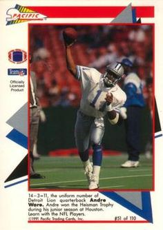 1991 Pacific Flash Cards #51 Andre Ware  - Detroit Lions.
