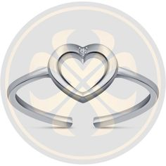 White Diamond 925 Sterling Silver Open Heart Adjustable Toe Ring Fashion Jewelry #parasexports