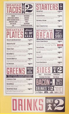 Sanctuary Printshop » Bacon Menus in Menu Design