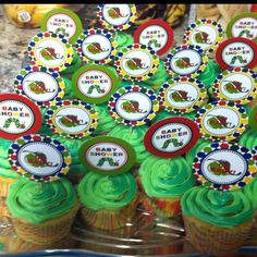 Baby shower cupcakes. Very Hungry Caterpillar theme.