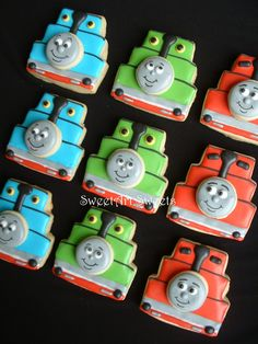 Thomas the Tank Engine cookies. I MUST make these for my son's 3rd birthday next year!