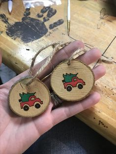 Ornaments I wood burned and painted. Ornaments I wood burned and painted. Wooden Christmas Ornaments, Painted Ornaments, Rustic Christmas, Christmas Art, Christmas Decorations, Christmas Ideas, Beach Christmas, Christmas Truck, Wood Burning Crafts