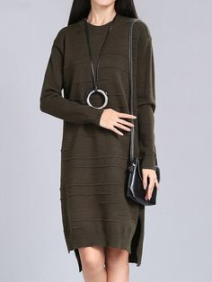 Sale 25% (42.89$) - Vintage Solid O-Neck Long Sleeve Loose Women Knitted Dress