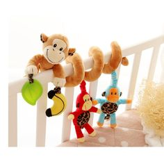Hot-Selling Monkey baby bed plush toy hot-selling New Multifunctional Baby Rattle Toy Baby Mobile Bed Bell WJ131