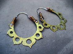 Lotus Flower Hoop Earrings, Yoga inspired, Mixed Metal, Meditation Jewelry, Golden, Gypsy