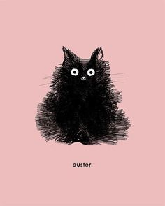 Cute Black Cat Drawing Art Illustration Pink Duster