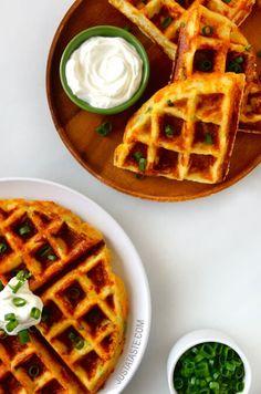 Cheesy Leftover Mashed Potato Waffles - yes, please!