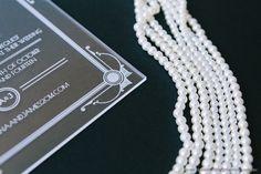 Wedding Invitations | Glamour invitation in the style of Art Deco | http://www.classicweddinginvitations.com.au/art-deco-acrylicinvitation/