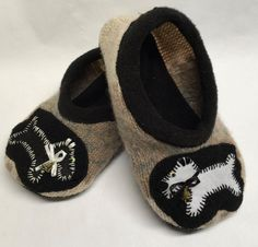 Upcycled Sweater Slippers with Suede Non-Skid by TheBackyardBear Upcycled Sweater, Fleece Sweater, Mens Slippers, Scottie Dog, Leather Men, Hand Sewing, Black And White, Sweaters, Etsy