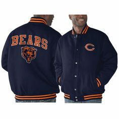 Chicago Bears Playoff Button-Up Jacket - Navy Blue