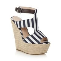 Blue striped canvas caged high wedge sandals - Ladies Designer Shoes