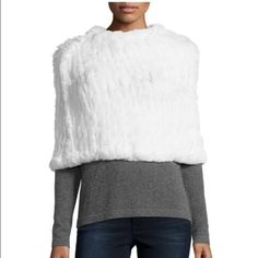 """🆕 Rabbit fur cropped poncho Love token ivory rabbit fur cropped poncho. Size medium. Crew neckline. Straight hem. Pullover style. Cotton inner mesh. Professional fur clean. Model measurements: height 5'10"""", bust 33"""", waist 25"""", hips 35"""", dress size 2/4. Love token Jackets & Coats Capes"""