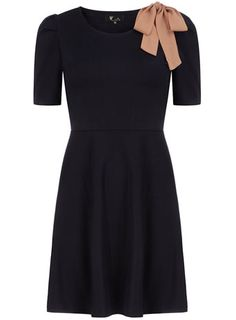 Navy flared bow tie dress