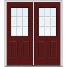 Milliken Millwork 72 in. x 80 in. Classic Clear Glass GBG 1/2 Lite Painted Majestic Steel Double Prehung Front Door - Z005029R - The Home Depot