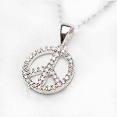 Pave Diamond Peace Necklace..