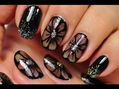 Nail Art Designs Gallery Best Of Nail Art Black Nail Design Black Flowers Nail Art Designs Black Nail Art, New Nail Art, Cute Nail Art, Easy Nail Art, Black Nails, Cute Nails, Nail Art Designs, Nail Art Design Gallery, Black Nail Designs