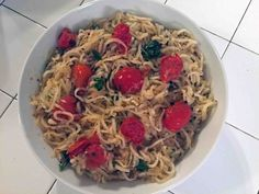 Paleo Pomodoro! Daikon noodles tossed with some beautiful cherry tomatoes from the farmers market, garlic, olive oil, herbs, spices, etc. For details visit CookingCaveman.com!