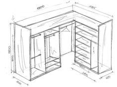Г-образная гардеробная схема с размерами Corner Wardrobe, Bedroom Wardrobe, Wardrobe Closet, Built In Wardrobe Designs, Closet Designs, Closet Built Ins, Closet Door Makeover, Closet Layout, Tiny House Cabin