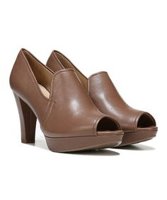 Mushroom Kaneli Leather Peep-Toe Pump by Naturalizer