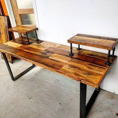 Custom Audio Engineering desk by http://barnboardstore.com.  This pieces uses our rustic brown barn board carefully sanded and finished along with industrial piping and steel U legs.