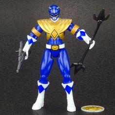 "Mighty Morphin Power Rangers Power Up BLUE RANGER 4"" Action Figure Bandai 2010 #Bandai"