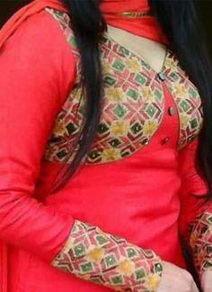 Red Plain Raw Silk Full Patiala Punjabi Salawar Kameez with Phulkari Jacket kotti at zikimo 1