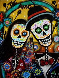 Mexican Folk Art Dia de los Muertos Wedding Painting Art Print