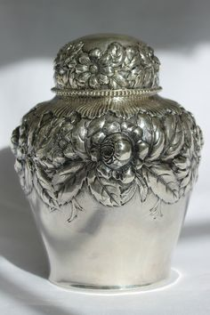 My grandmothers pattern.  Gorham sterling silver tea caddy in a repoussé design, c1890 (prussiaqueen)