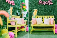 Party bench, complete with parrot from Tropically Flamingo Themed Birthday Party…