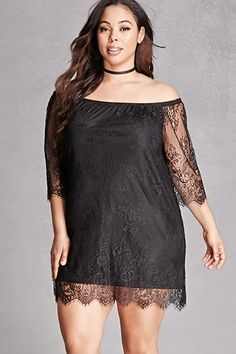 Forever - A lace mini dress featuring an off-the-shoulder neckline, sheer eyelash lace sleeves, scalloped trim along the hem, and an exposed back zipper closure. This is an independent brand and not a Forever 21 branded item. Plus Size Dresses, Plus Size Outfits, Everyday Goth, Printed Tees, Lace Sleeves, Plus Size Fashion, Fall Outfits, Latest Trends, Shoulder Dress