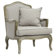 A+perfect+addition+to+your+living+room+or+den,+this+weathered+birch+wood+arm+chair+showcases+linen+upholstery+and+a+coordinating+pillow.    +