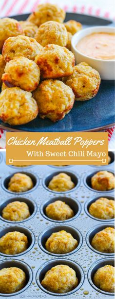 Need a fun appetizer or an extra protein boost snack? Look no further than these chicken meatball poppers with sweet chili mayo dipping sauce.
