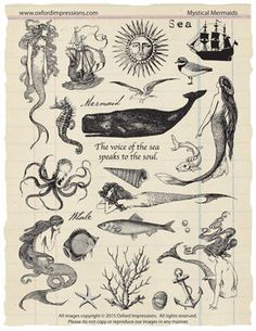 Mystical Mermaids - A collection of 26 unmounted rubber stamps with a nautical, mermaid theme. Rubber stamps are traditional red rubber and are sold rubber only - no cushion or mounting. Intended for use with temporary mounting systems such as cling Arte Obscura, Desenho Tattoo, Mystique, Tampons, Grafik Design, Stamp Collecting, Oeuvre D'art, Art Inspo, Body Art