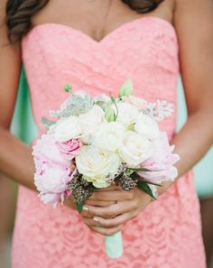 Pale pink, cream, and mint bouquet. Photo by Best Photography. Floral by Lee James Floral Designs.