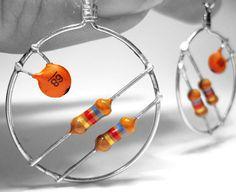 Upcycled Computer Parts Hoop Earrings Orange Rust by clonehardware, $15.00