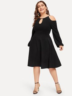 fd29c0a8171 Shop Plus Cold Shoulder Cutout Solid Dress online. SheIn offers Plus Cold  Shoulder Cutout Solid