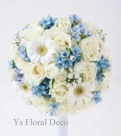 Bridal Bouquet Blue, Wedding Bouquets, Wedding Flowers, Daisy Wedding, Dusty Blue Weddings, Flower Fashion, Love Flowers, Floral Arrangements, Marie