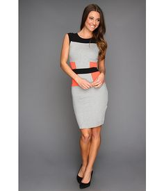 French Connection Manhattan Jersey Block Dress Grey Speckled Mel/Black/Holiday Crush - 6pm.com