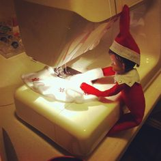 Polly Sewing her Skirt Elf on the Shelf- LOVE THIS IDEA! We have 2 girl elves and this is the perfect way to introduce their new skirts!!!