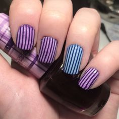 Stripy nailart this week. Base coats - @barrymcosmetics 'blue grape' & @maxfactor 'lacquered violet'. Stamped with @moyou_london 'white knight' and 'pro plate 01'. Layered then with @opi_products 'sheer tints' 'don't violet me down' & 'I can teal you like me'