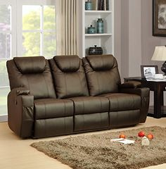 LoveSofas New Luxury Cinema Lazy Boy 3 Seater Bonded Leather Recliner Sofa/Settee (Brown)