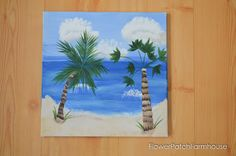Have a great time with friends, paint a tropical beach scene together. This free and easy tutorial will take you step by step. A great paint party painting!