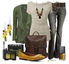 like the shape on the neck line for the shirt and the green cardigan is nice. DONOT like the yellows! The bag is cute