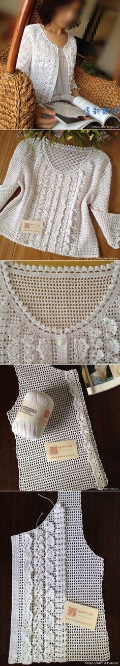 White blouse with ruffles loin knitting Bluse Вязание крючком Crochet Bolero, Gilet Crochet, Crochet Coat, Crochet Jacket, Crochet Cardigan, Crochet Clothes, Crochet Baby, Crochet Bikini, Lace Jacket