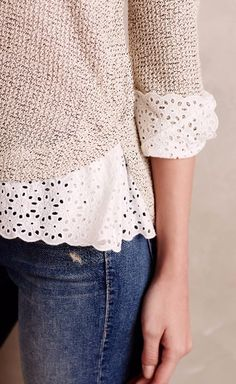 STITCH FIX STYLIST: I love this pullover paired with the tight jeans. This seems simple, but is made really cute and fun with the lace edges.