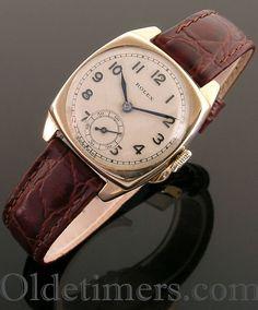 1920s 9ct gold cushion vintage Rolex watch