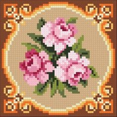 KIT Set for embroidery needlepoint, miniature pillow for doll house, Miniature cushion 1 12 Petit Po Cross Stitch Needles, Beaded Cross Stitch, Cross Stitch Rose, Cross Stitch Flowers, Cross Stitch Embroidery, Pixel Crochet Blanket, Texas Quilt, Vide Poche, Card Box Wedding